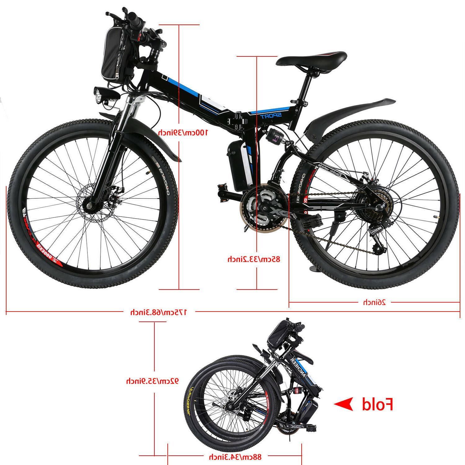 26'' Ebike Electric Bike Moutain Bicycle Foldable Cycling Cl