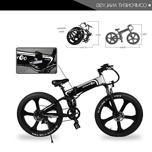 WALLKE Bike Battery Fat Mountain Bike Cruiser Adult Assisted