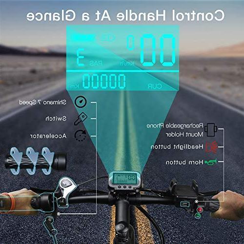 WALLKE Folding Aluminum Bike 10.4ah Battery Mountain Bike 750W Cruiser Assisted E-Bike Hydraulic