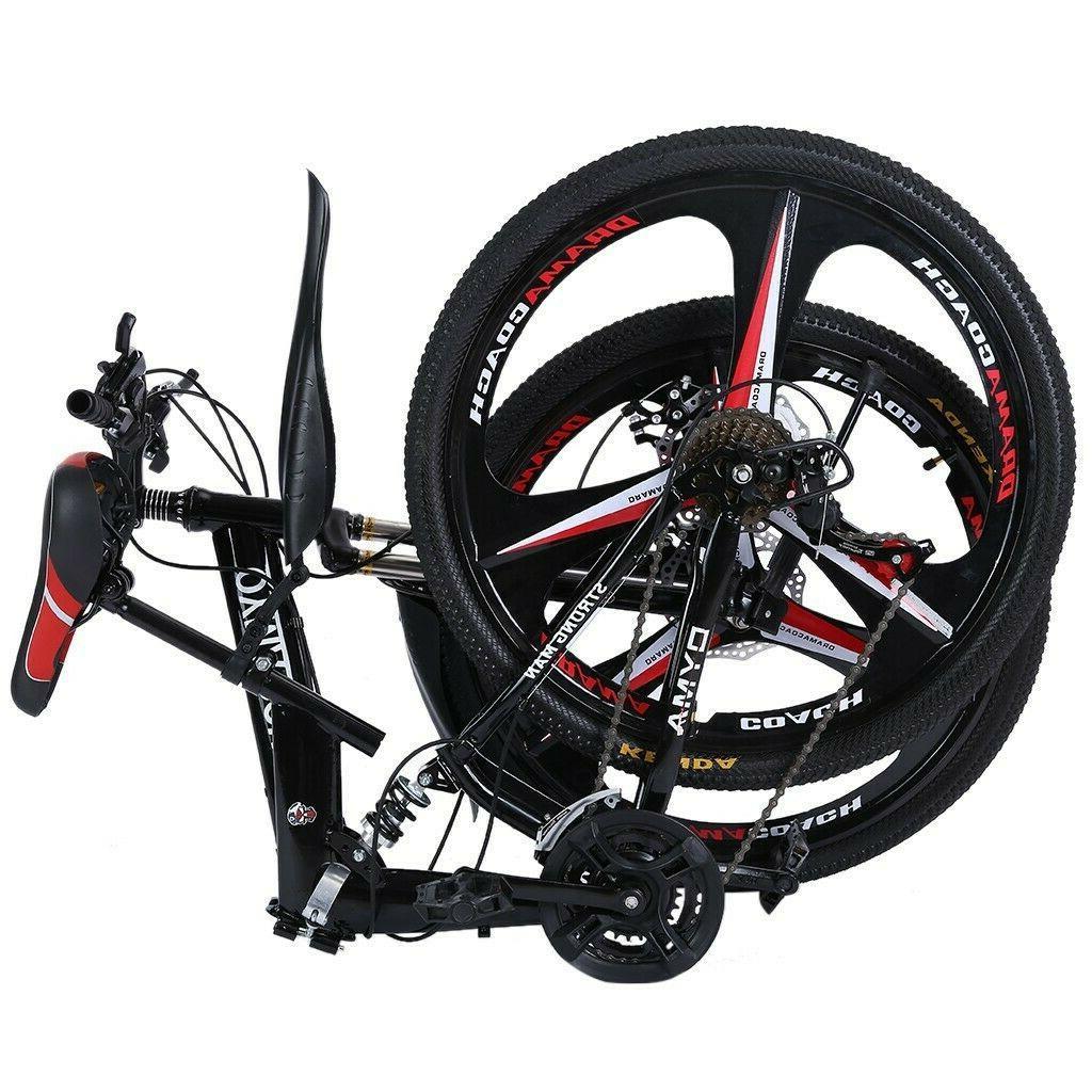 folding full suspension 26in mountain bike shimano