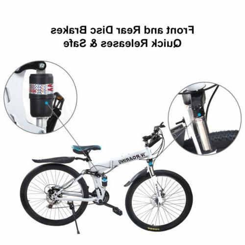 "Gearshift Bicycle Folding Mountain Bike 21 Speed Bikes 24"" S"