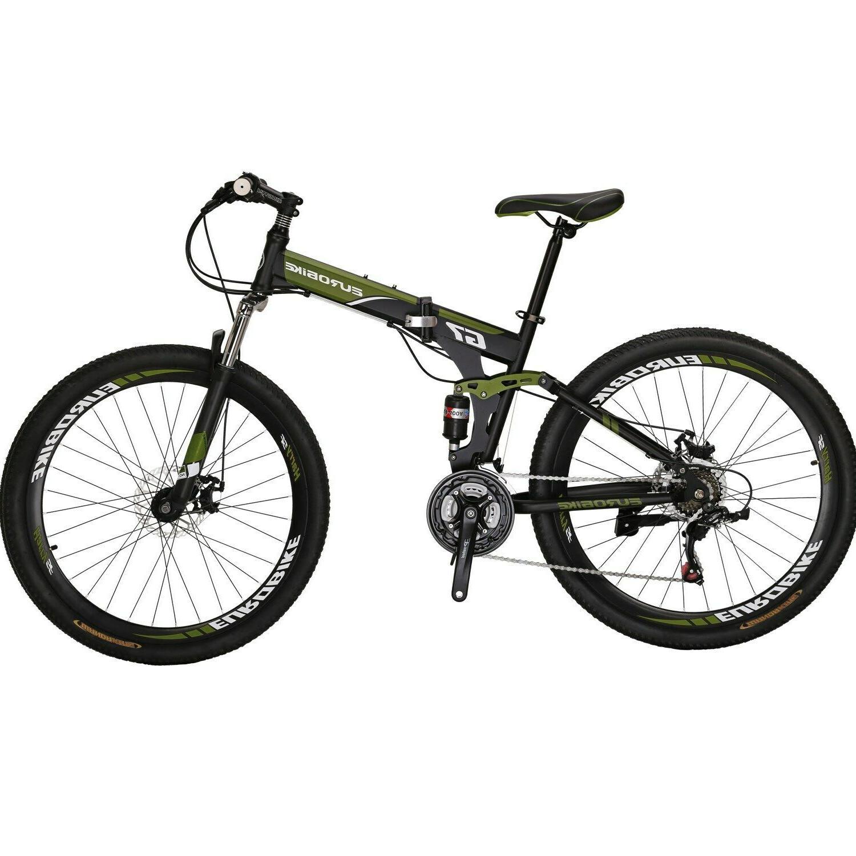 Folding Mountain Bike 21 Speed Full Suspension Bicycle 27.5