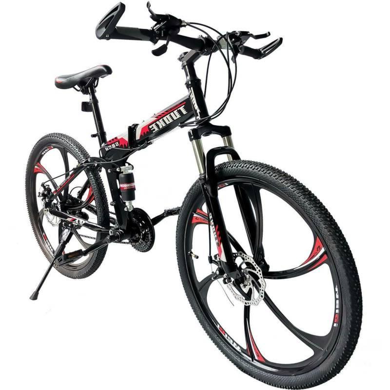 Folding Mountain Bike Full Suspension Bicycle Speed MTB Mens