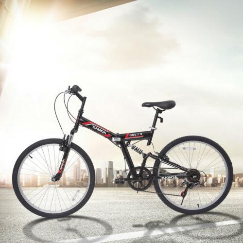 """26"""" Foldable Hybrid Bike 7 Speeds Full Suspension F200"""