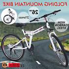 "26"" Folding Mountain Bike 21 Speed Bicycle Shimano Suspensio"