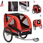 Folding Pet Bicycle Trailer Dog Cat Bike Carrier w/ Drawbar