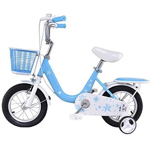 goplus kids bike boys girls bicycle training wheels basket p