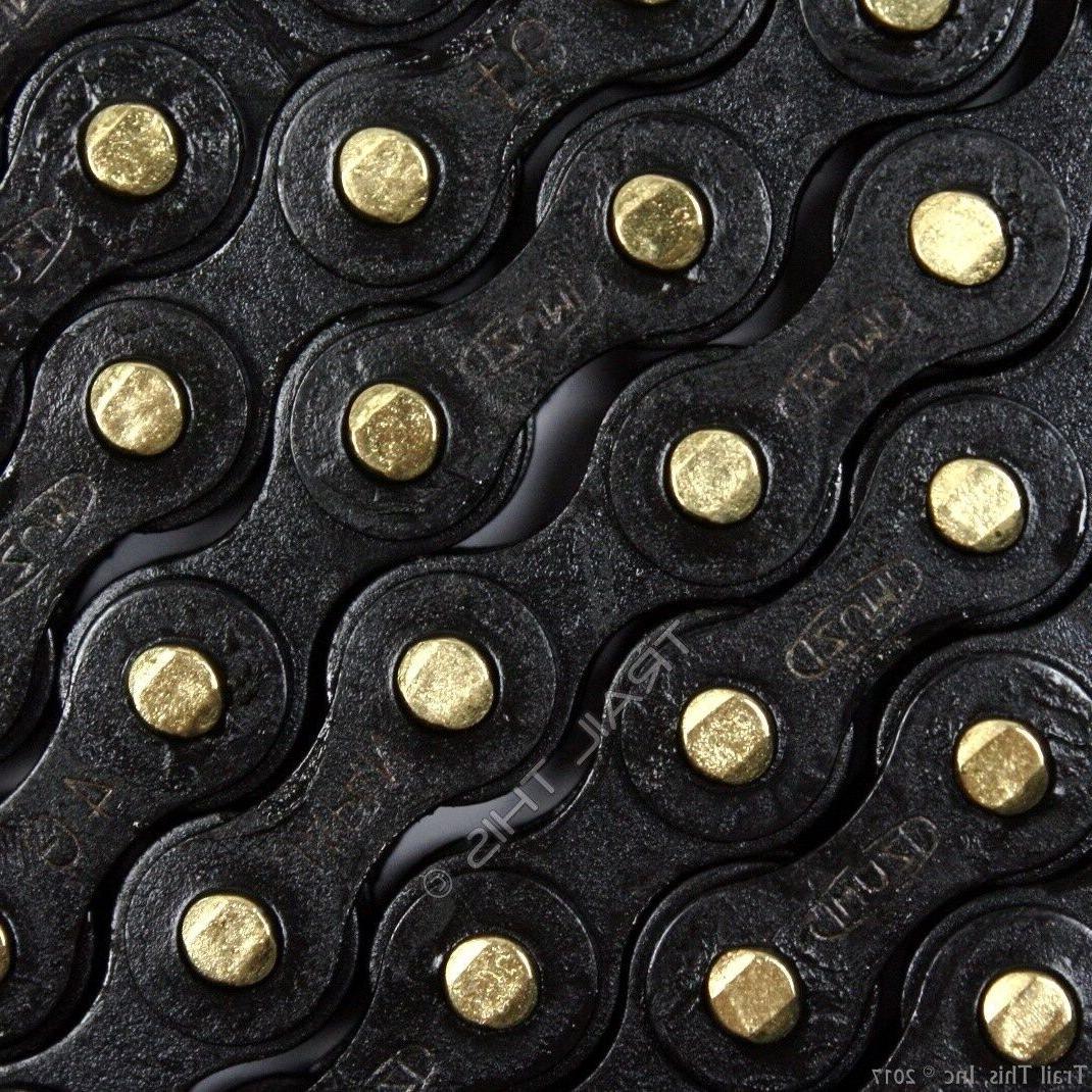 Izumi Jet Black with Gold Pins 1/2 x 1/8 116L BMX Track Sing