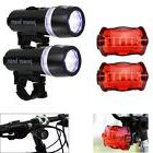 2x 5 LED Lamp Bike Bicycle Front Head Light +Rear Safety Wat