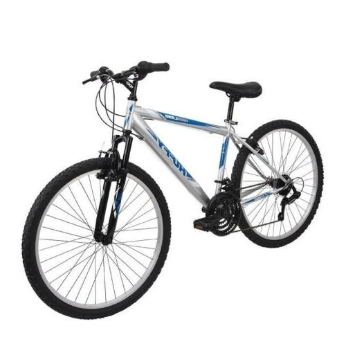 Huffy Men's Highland Mountain Bike Silver/Blue Bicycle