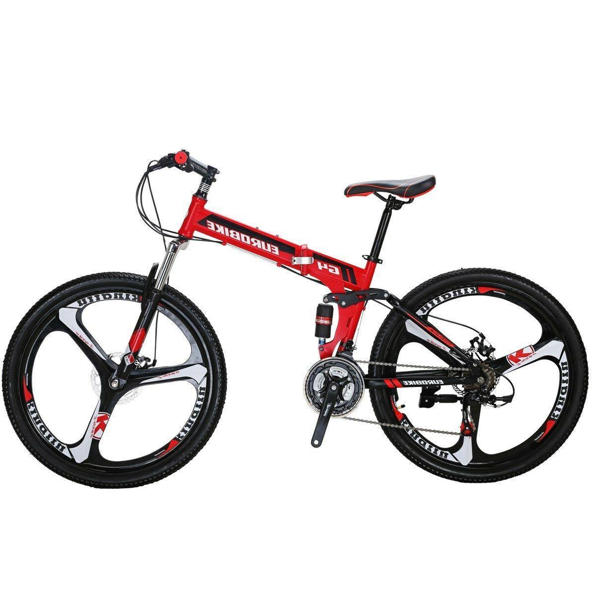 "26"" Folding Mountain Bike 21 Speed Full Suspension Disc Brak"