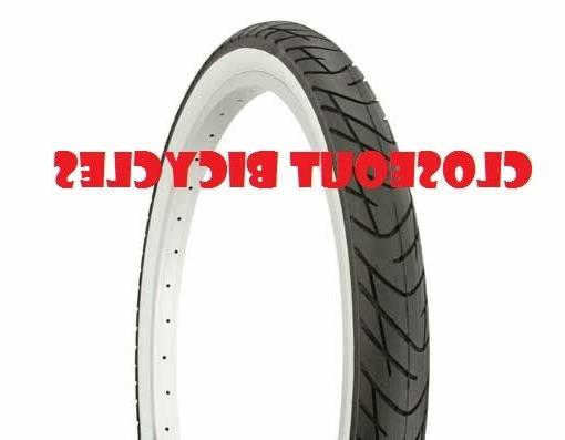 """ONE BICYCLE TIRE 24"""" X 2.125 SLICK WHITE WALL BEACH CRUSIER"""