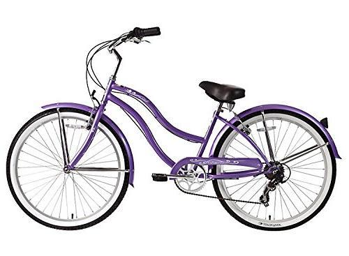 """Micargi 26/"""" Pantera 7 speed Lady beach cruiser bicycle bike Purple"""