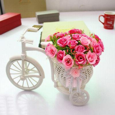 1X Plastic White Tricycle Bike Design Flower Basket Storage