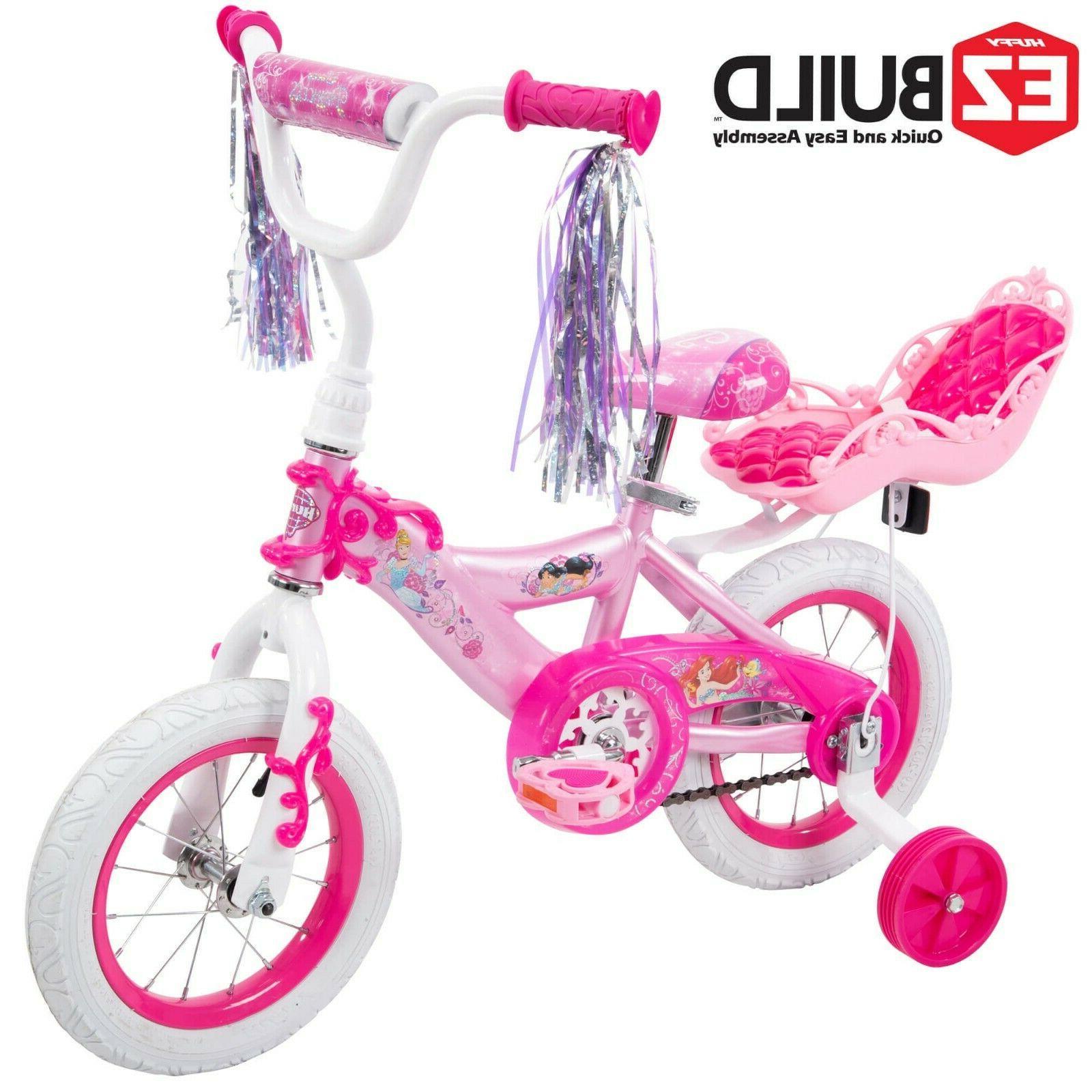 "Disney Princess 12"" Girls' EZ Build Bike with Doll Carrier,"