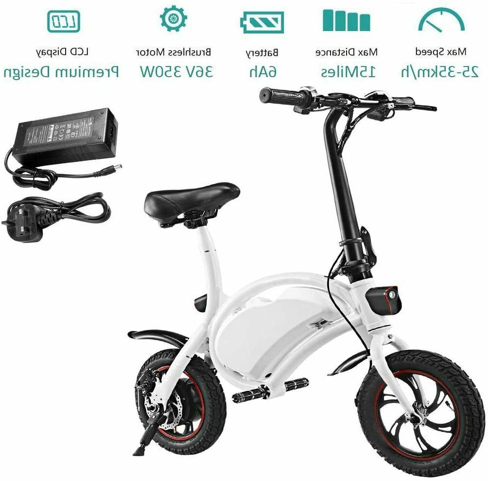 "PRO Folding Electric Bicycle - Black - 350 Watt - 12"" Whee"