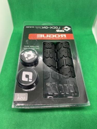 ODI ROGUE LOCK-ON FLANGELESS BLACK BMX-MTB BICYCLE GRIPS