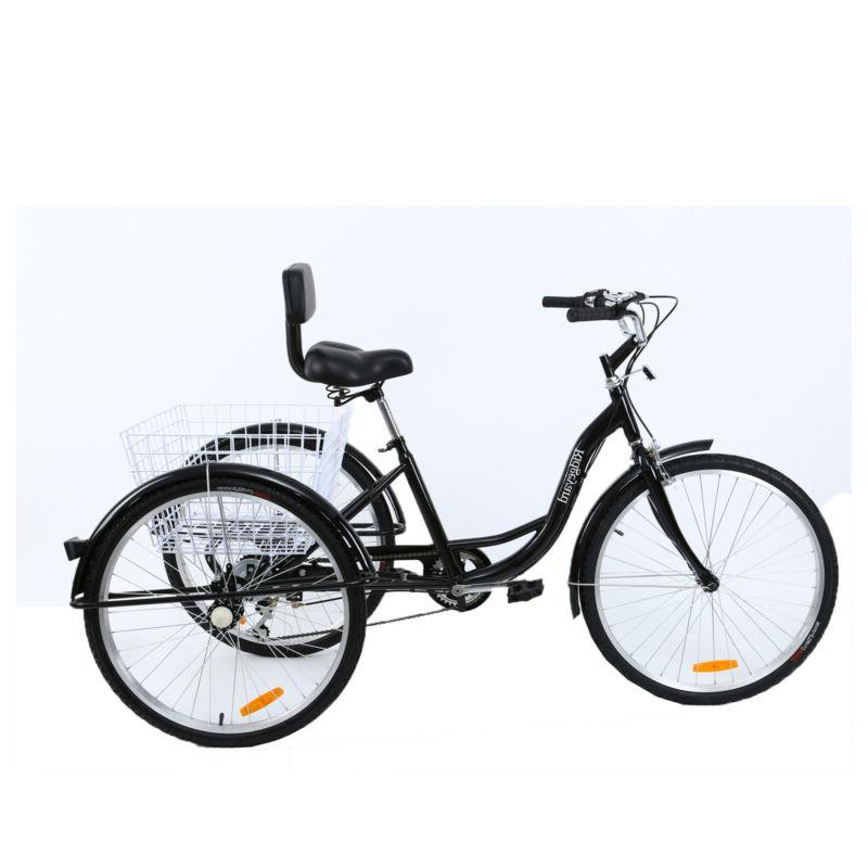 """7-Speed Adult 26"""" 3-Wheel Tricycle Cruise With Basket Color"""