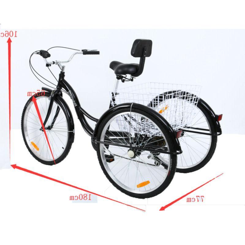 7-Speed Trike Bicycle Cruise Basket Adjustable Seat