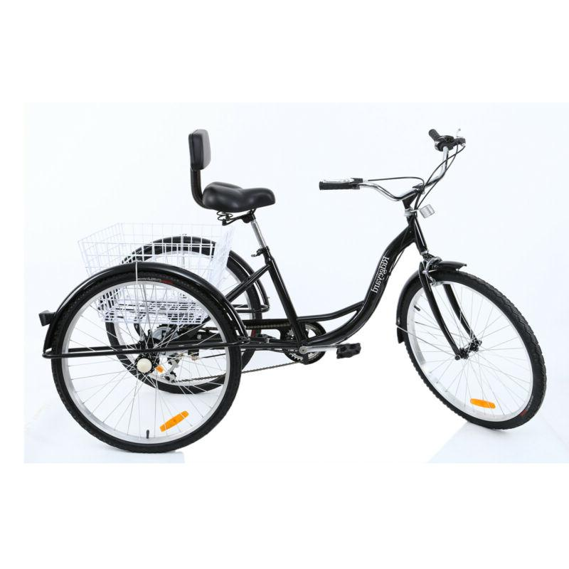 7-Speed Trike Bicycle w/ Basket Seat
