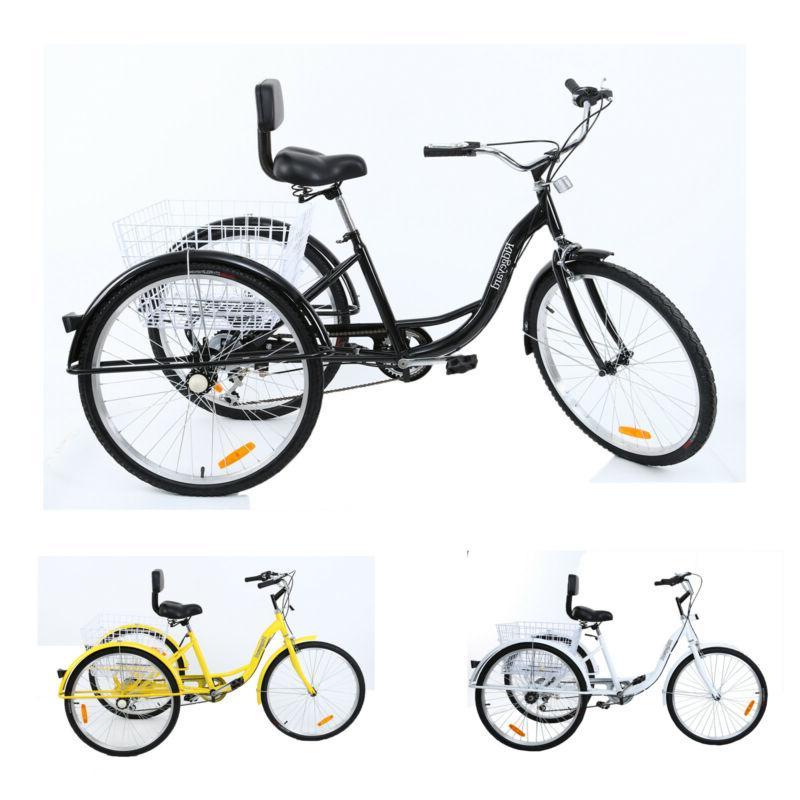 7-Speed 3-Wheel Tricycle Trike Basket Adjustable Seat