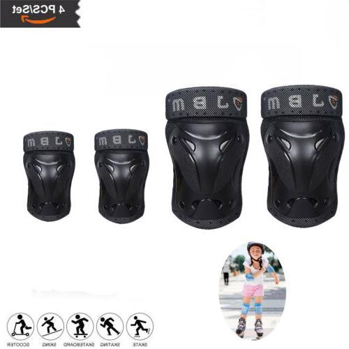 Skating Protective Gear 4 Sets Elbow Knee Pads Bike Skateboa