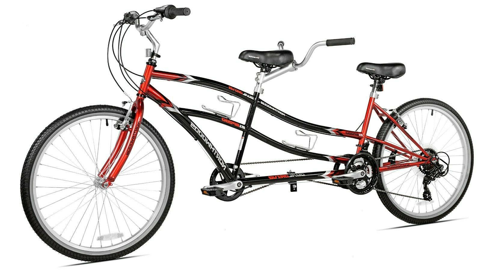"BRAND NEW! Tandem Bike 21-Sp Dual Drive 26"" Northwoods Durab"
