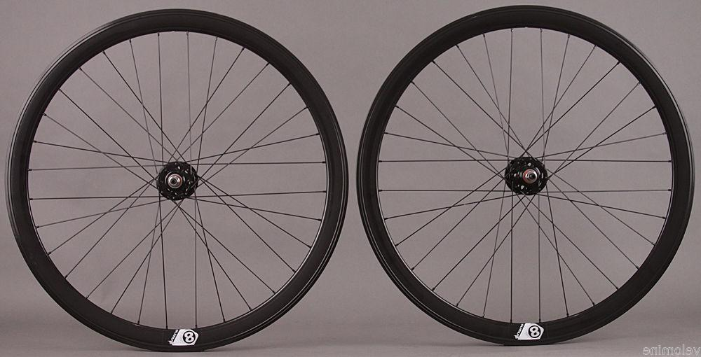 Track Bike Fixed Gear 42mm Deep Black Aero Wheelset Formula