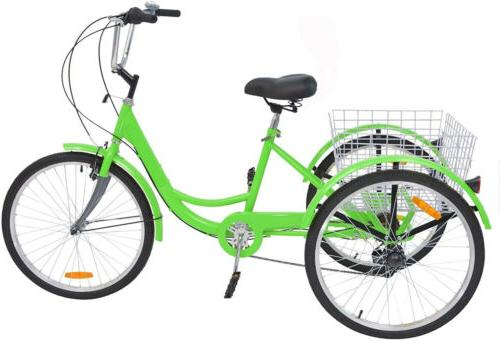 Tricycle 3-Wheel 7Speed Bicycle Trike Shopping