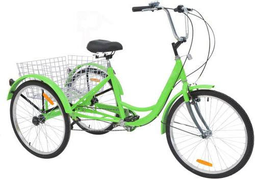 Tricycle 3-Wheel Bicycle Trike Cruiser Shopping