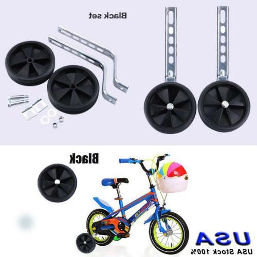 "Black 12- 20"" Inch Kids Stabilisers Training Wheels For Chil"