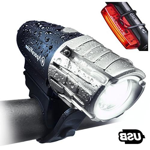 Sunspeed USB Rechargeable LED Bike Light Set Front and Tail
