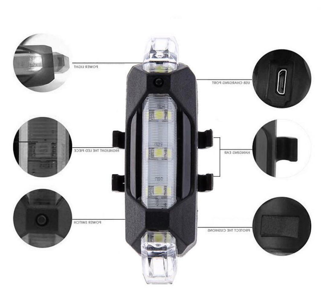 USB RECHARGEABLE LED Light head rear bar