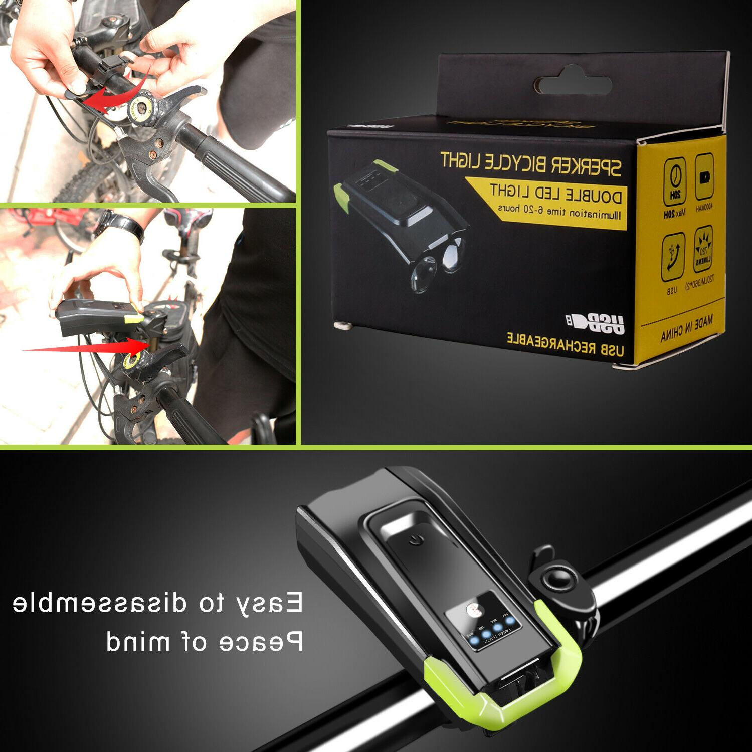 USB Rechargeable Bicycle Headlight Bike Light Front Cycling Horn