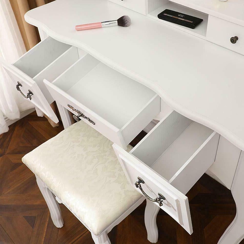 Vanity Makeup Desk Set 3 Folding Mirror 5