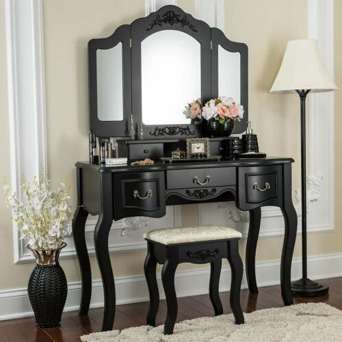 5 drawers 3 folding mirrors vanity makeup
