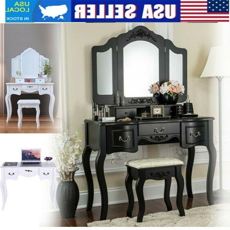 vanity makeup table dressing desk set wood