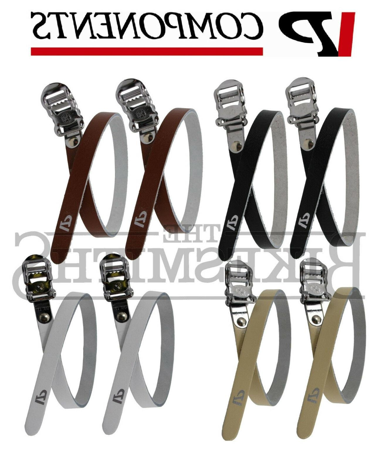 Fixed Gear Bike Pedal Toe Clip Fixie VP-715 Quality Road Black /& Brown Straps