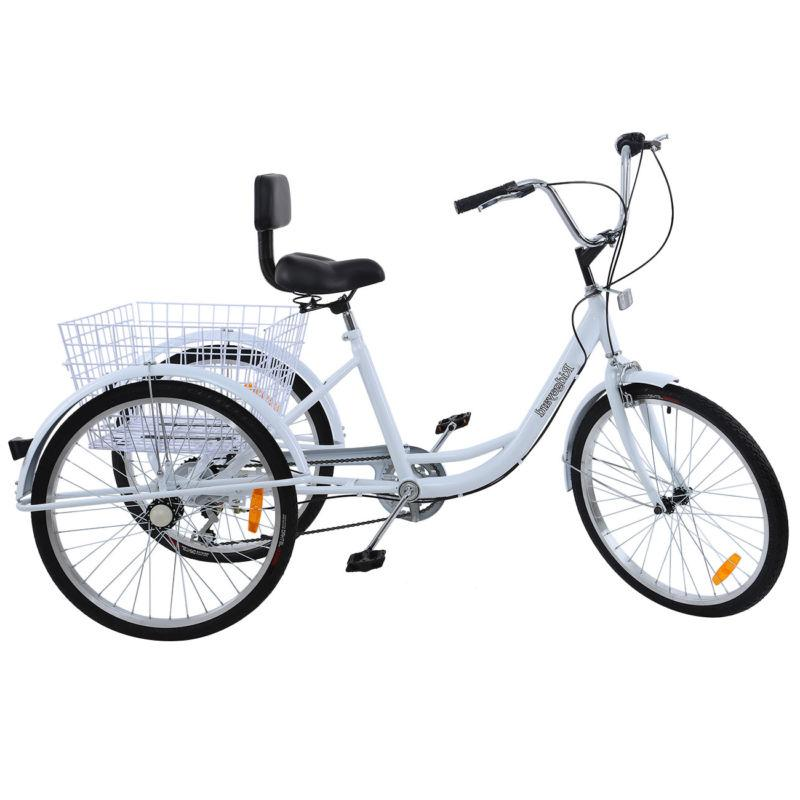 white 24 adult tricycle 3 wheel 7