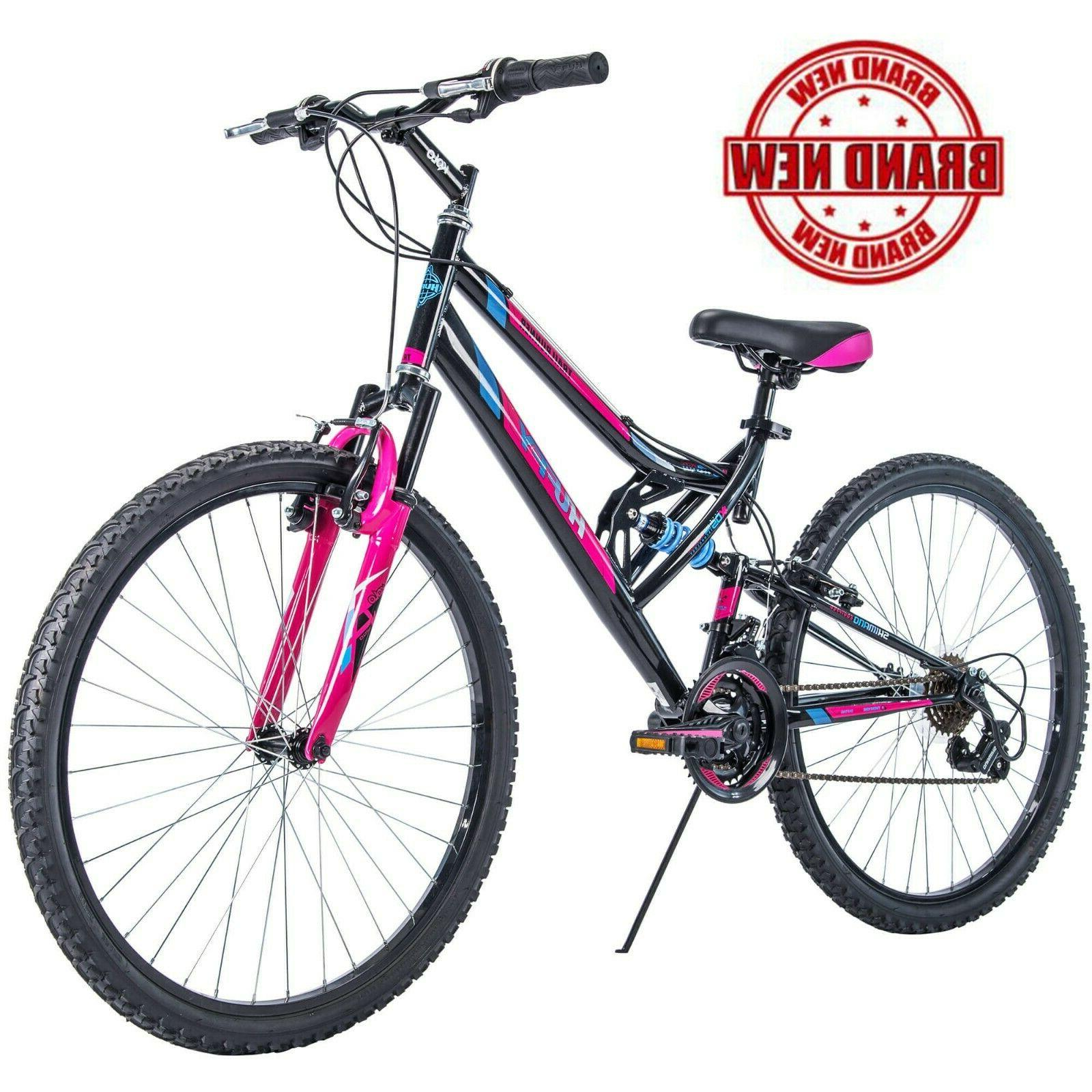 "Women's Mountain Bike 26"" Huffy Dual Suspension Sport Pink B"