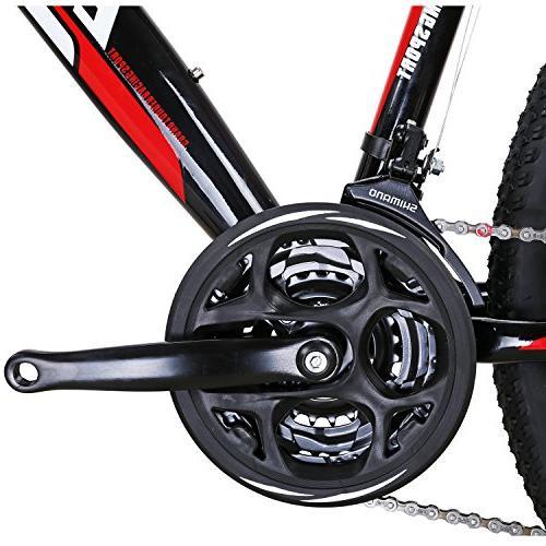 EUROBIKE Mountain Bike Shifting Inches Wheel Dual Disc MTB Bicycle Black Red