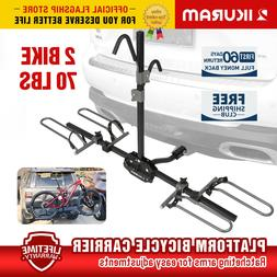"IKURAM 2 Bike Bicycle Carrier 2"" Hitch Receiver Mount Rack T"
