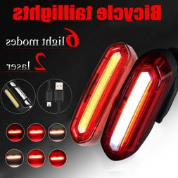 LED Bicycle Cycling Tail Light USB Rechargeable Bike Rear Wa