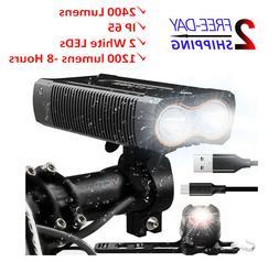 LED Bike Light USB Rechargeable Super Bright 2400 Lumens Wat