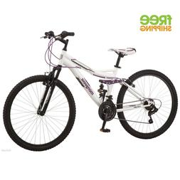 "26"" Mongoose Ledge 2.1 Women's Mountain Bike, White/Purple"