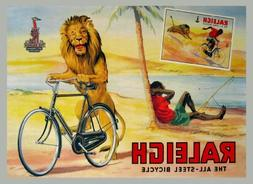 Man Fishing Lion Stealing Raleigh All Steel Bicycle Bike Cyc