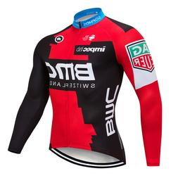 Men Cycling Long Sleeve Jersey Bib Road Bicycle Bike Shirt M