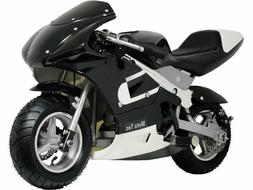 MotoTec Mini Gas Pocket Bike 33cc 2-Stroke Scooter Black For
