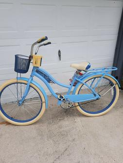 "Huffy Nel Lusso Classic Blue Cruiser Bike 26"" Ladies Women B"