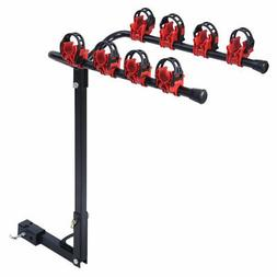 "New 4 Bicycle Bike Rack 1-1/4""&2"" Hitch Mount Carrier Car Tr"